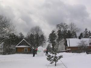 zimowy stary dom
